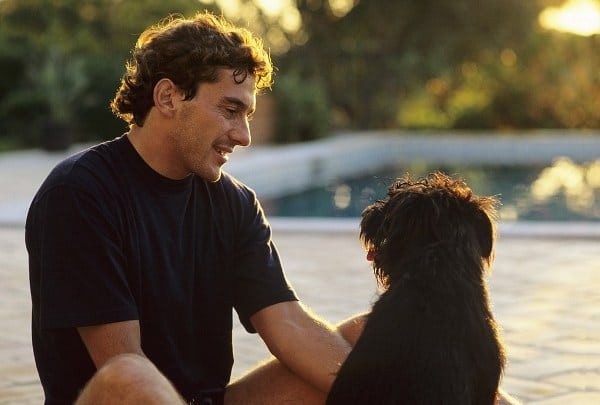 ayrton senna petting a dog