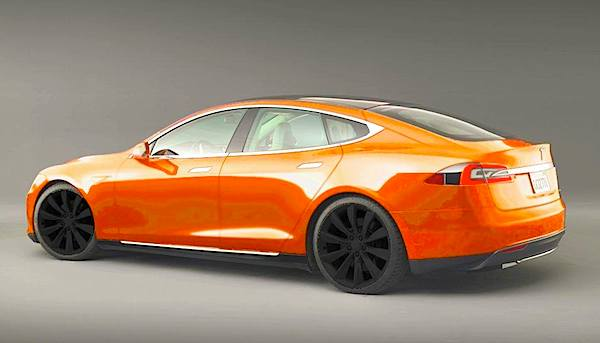 Tesla Model S in orange